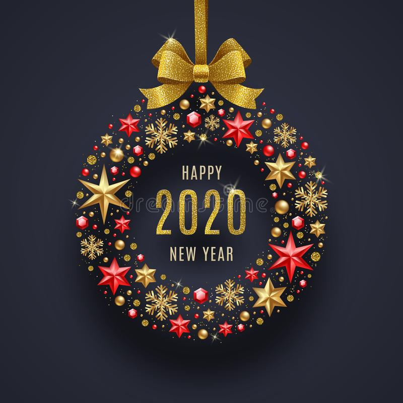 New year 2020 greeting illustration. Abstract holidays bauble with glitter gold bow ribbon. New year 2020 greeting illustration. Abstract holidays bauble made vector illustration