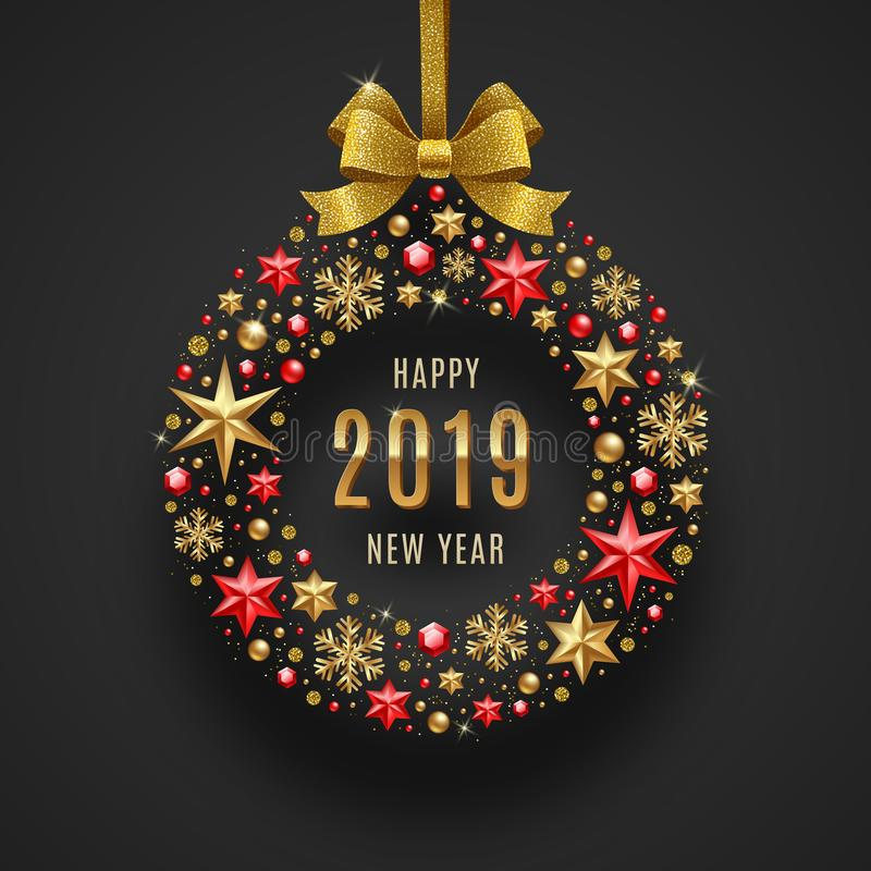 New year 2019 illustration. Abstract holidays bauble made from stars, ruby gems golden snowflakes, beads and glitter gold. New year 2019 greeting illustration stock illustration