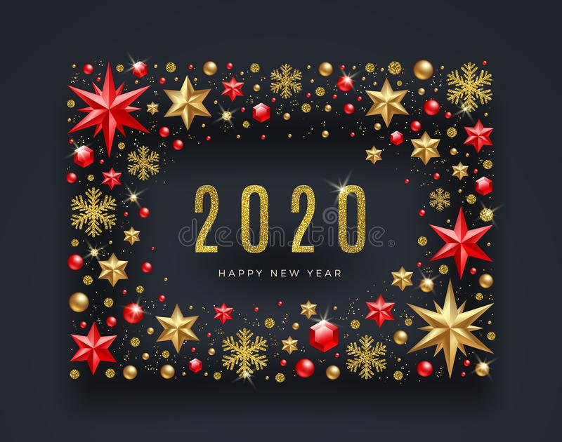 New Year greeting illustration. Frame made from stars, ruby gems, glitter gold snowflakes and beads and glitter gold 2020 logo. Vector illustration stock illustration