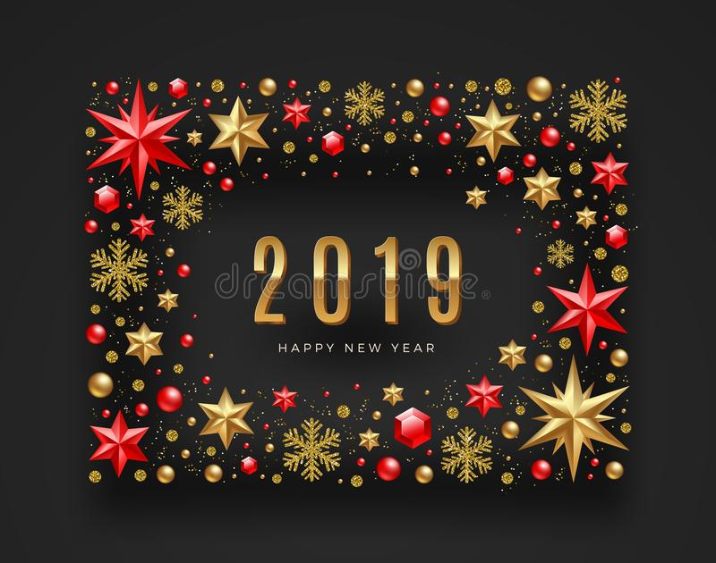 New Year 2019 illustration. Frame made from stars, ruby gems, glitter gold snowflakes and beads. Vector illustration. New Year 2019 greeting illustration. Frame vector illustration