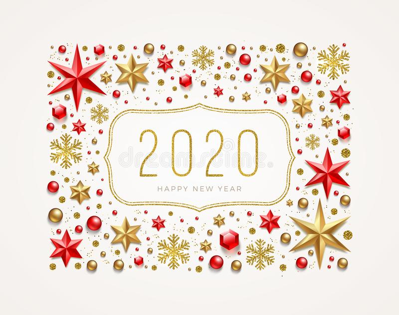 New Year 2020 greeting illustration. Frame made from stars, ruby gems, golden snowflakes, beads and glitter gold. Vector illustration royalty free illustration