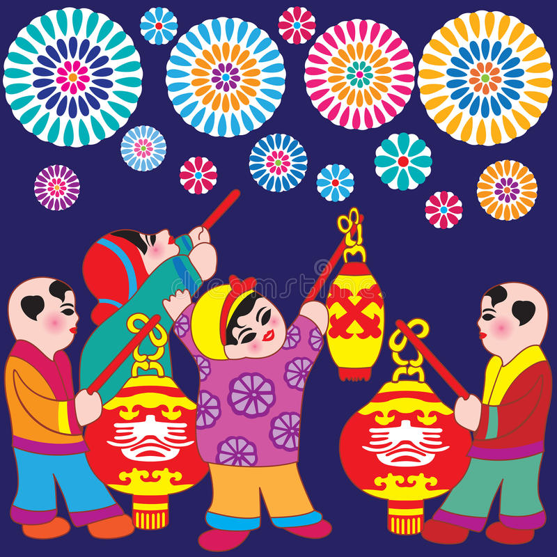 New Year Greetings Boys & Girls. Vector illustration of an asian little boys and girls. Children set off firecrackers, carry colorful lanterns stock illustration