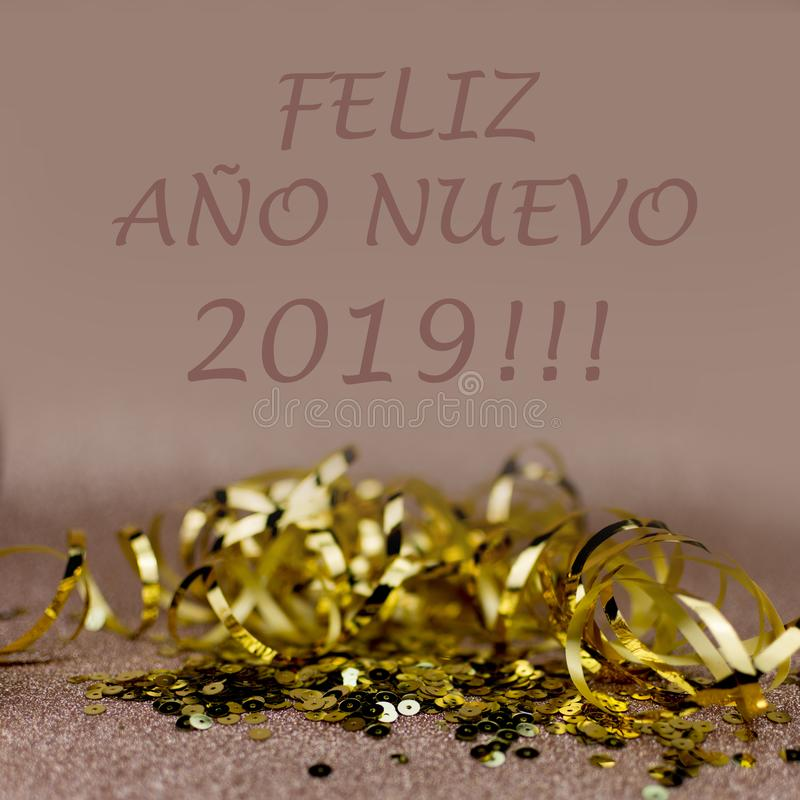 New Year 2019 greetings card. Glitter and bokeh effects on background. Elegant card vector illustration
