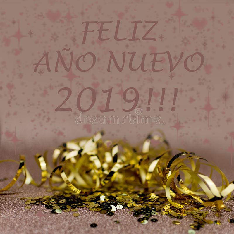 New Year 2019 greetings card. Glitter and bokeh effects on background. Elegant card stock illustration