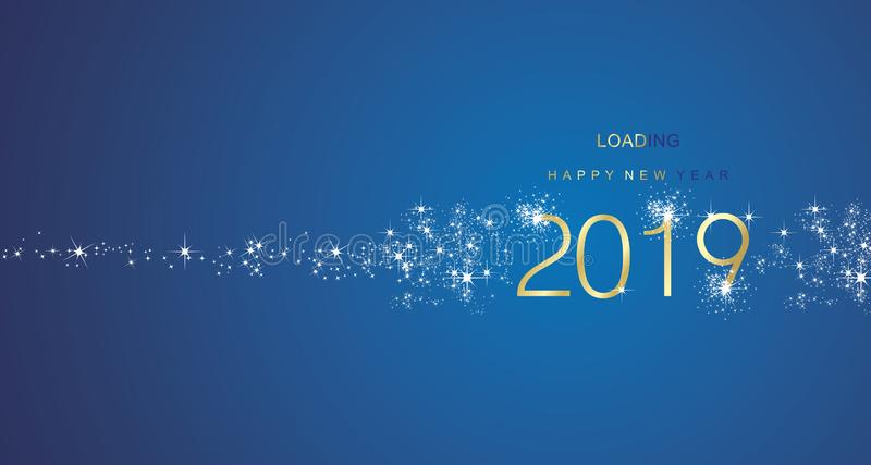 New Year 2019 greetings loading firework gold white blue color vector. New Year 2019 greetings loading firework gold white blue color sparkle vector greeting royalty free illustration