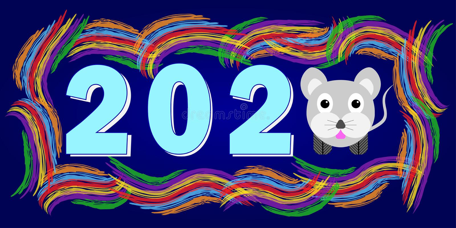 New Year greetings with text 2020 and mouse symbol of the year illustration - mouse.  stock photography