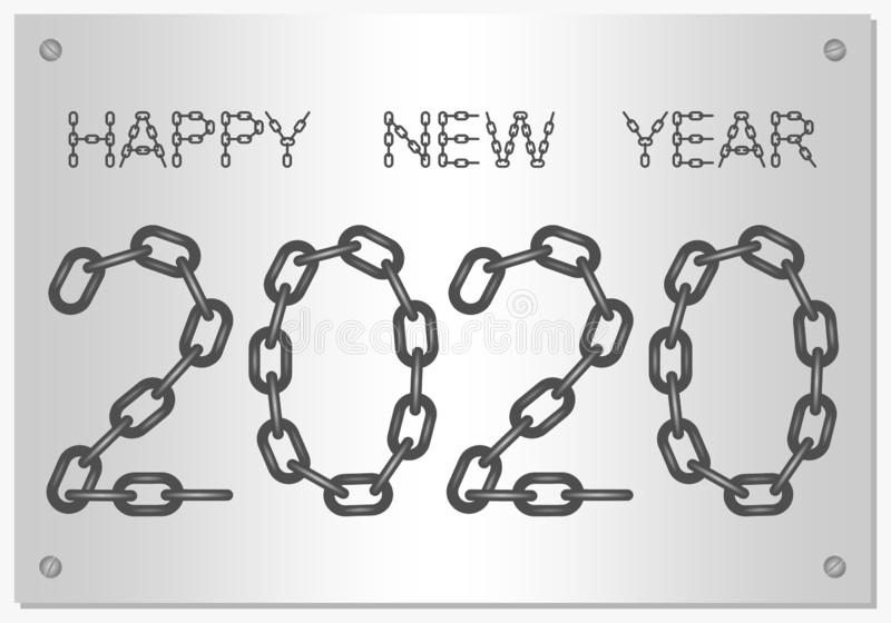 New Year Greetings for 2020 with the words Happy New Year from steel chain with silver on a silver background stock illustration