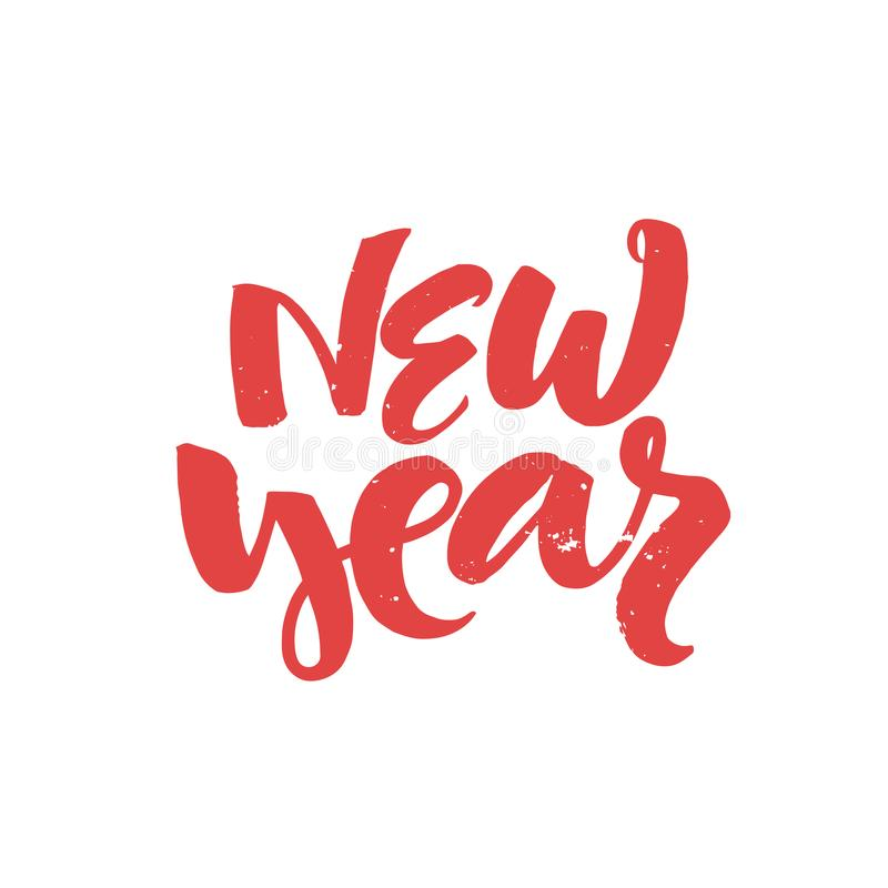 New year - handdrawn Christmas lettering for greeting cards and invitations. royalty free stock photo