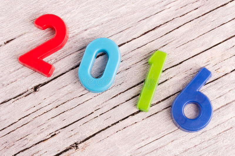 New year. Happy new year concept, 2016 from colorful letters stock photos