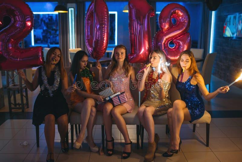 New 2018 Year. Happy girls company royalty free stock photography