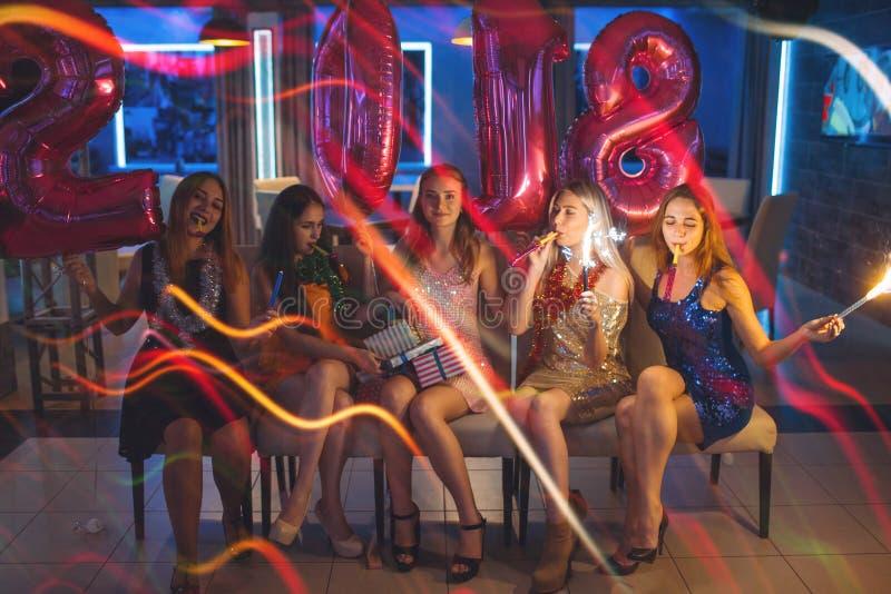 New 2018 Year. Happy girls company stock image