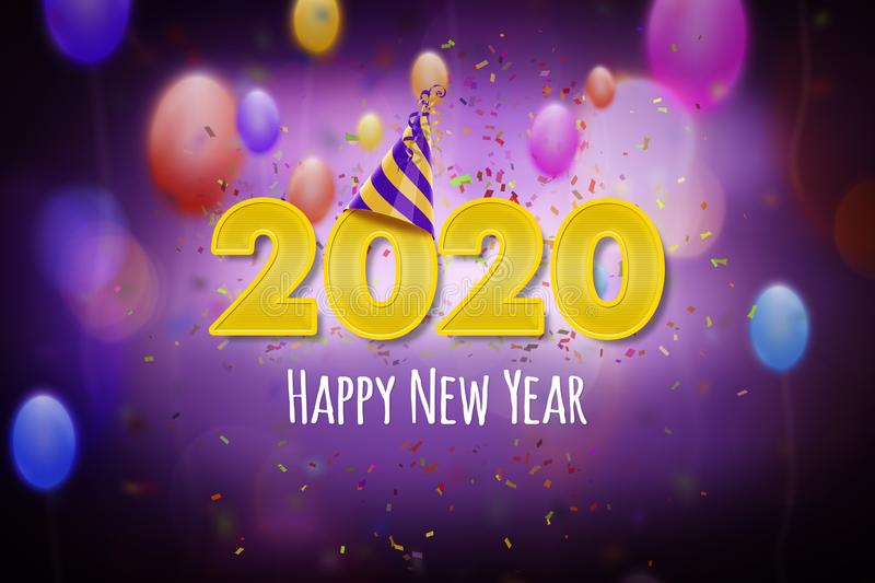 New Year 2020, Happy New Year greeting card concept with a colorful party theme stock illustration