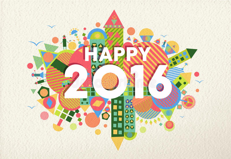 New year 2016 happy greeting card fun colorful. Happy New Year 2016 retro colorful design with fun geometry elements on paper texture background. Ideal for vector illustration