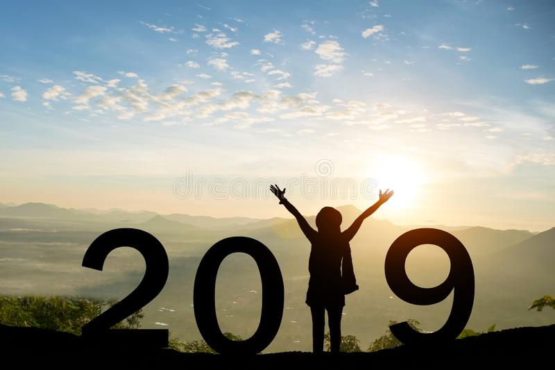 2019 new year happy for silhouette girl stand royalty free stock photos