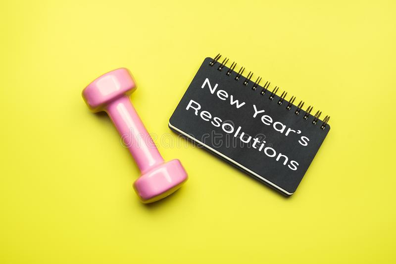 New Year Healthy Goals and Resolutions concept. New Year& x27;s Resol stock photography