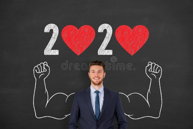 New Year 2020 with Heart Shape on Chalkboard Background new year concepts stock photos