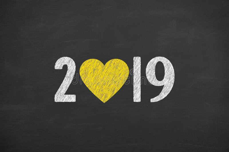 New Year 2019 with Heart Shape on Chalkboard Background stock photos