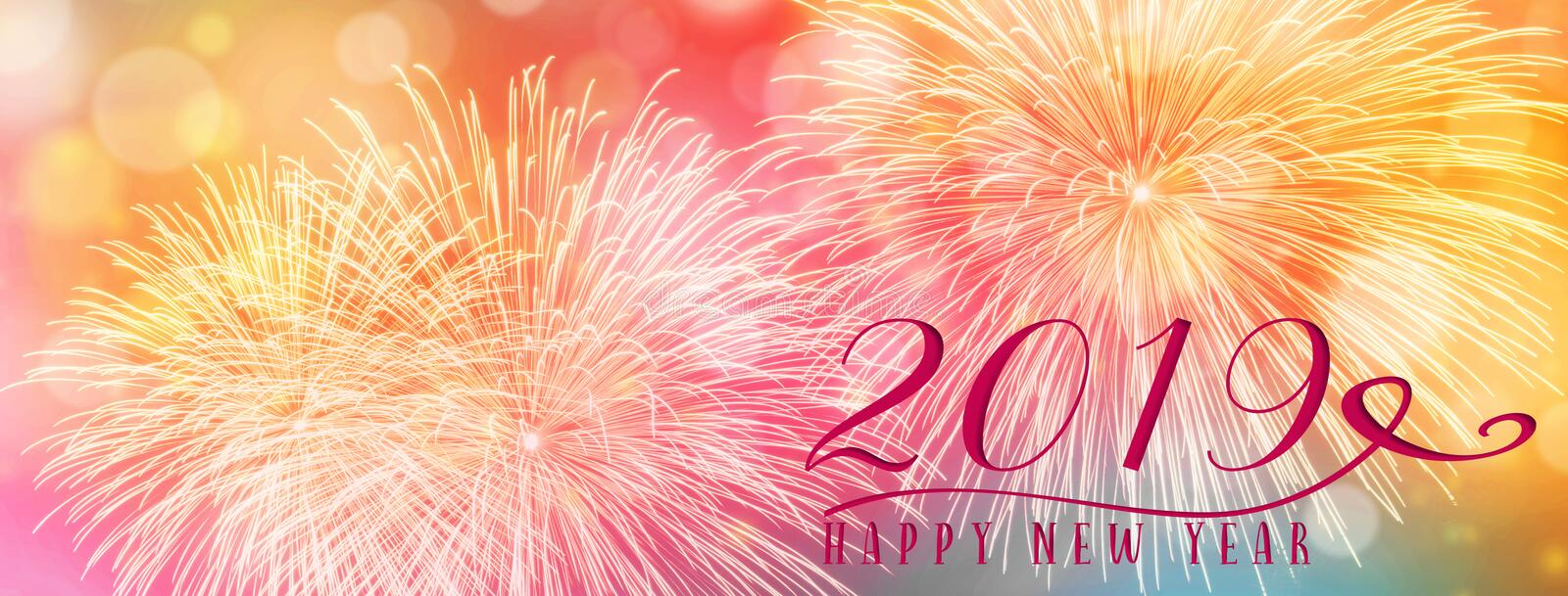 New Year Holiday background banner with fireworks and seasonal quote. stock photo