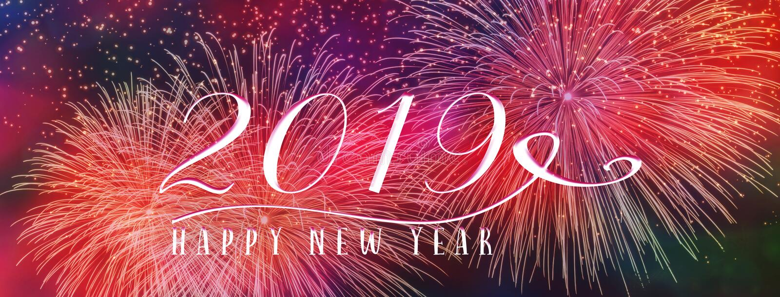 New Year Holiday 2019 background banner with fireworks and seasonal quote. Scales to fit a facebook header. Perfect for social media influencers and bloggers stock photography