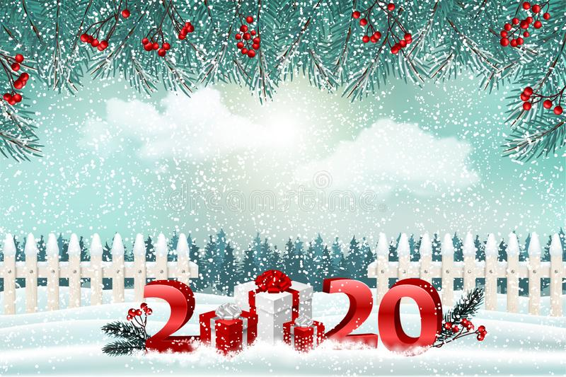 New Year holiday background with red presents and 2020 numbers. Winter forest landscape. royalty free stock photo