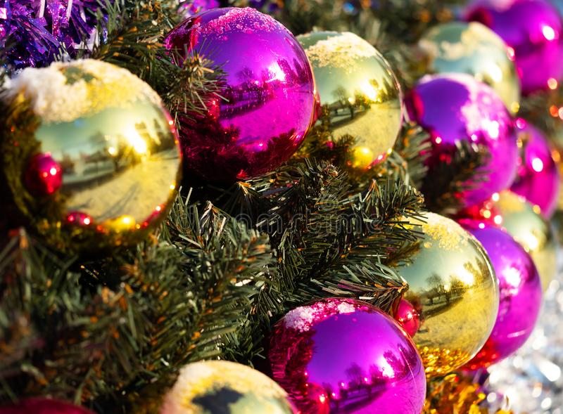 New year holiday ball decorations background stock images