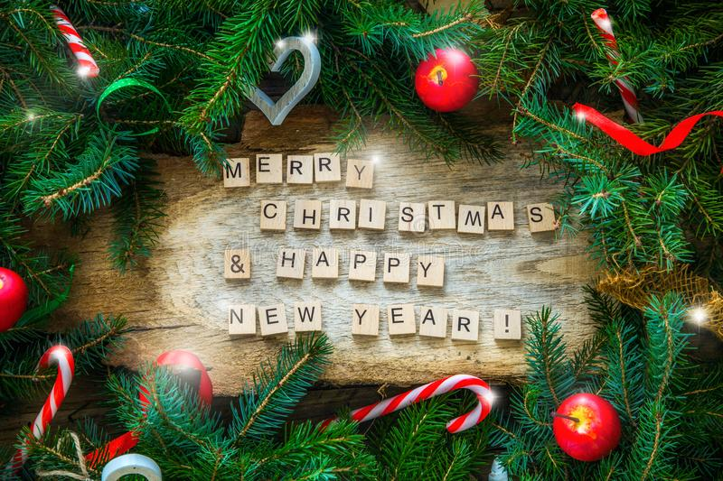 Merry Christmas and Happy New Year stock photos