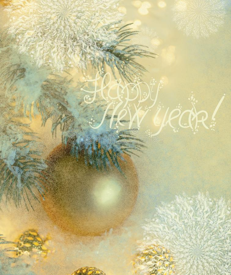 New Year Holiday greeting postcard. Beautiful golden ball, pine branches and a garland in the snow. royalty free stock image