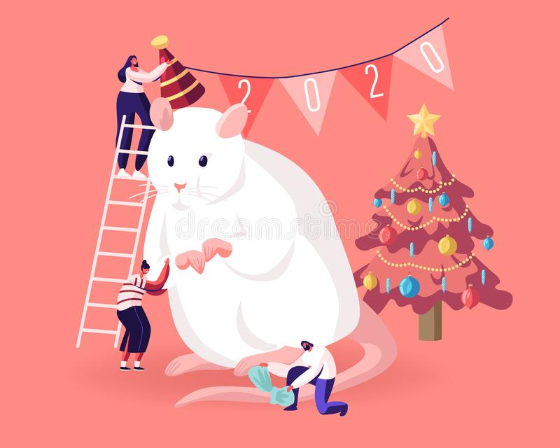 2020 New Year Holidays Event. Group of Happy People Prepare for Party Celebration Decorate Huge White Mouse Symbol. Of Chinese Calendar Put Hat on Head and Bow stock illustration