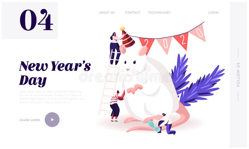 2020 New Year Holidays Website Landing Page. Group of Happy People Prepare for Party Celebration Decorate. Huge White Mouse Symbol Chinese Calendar Web Page royalty free illustration