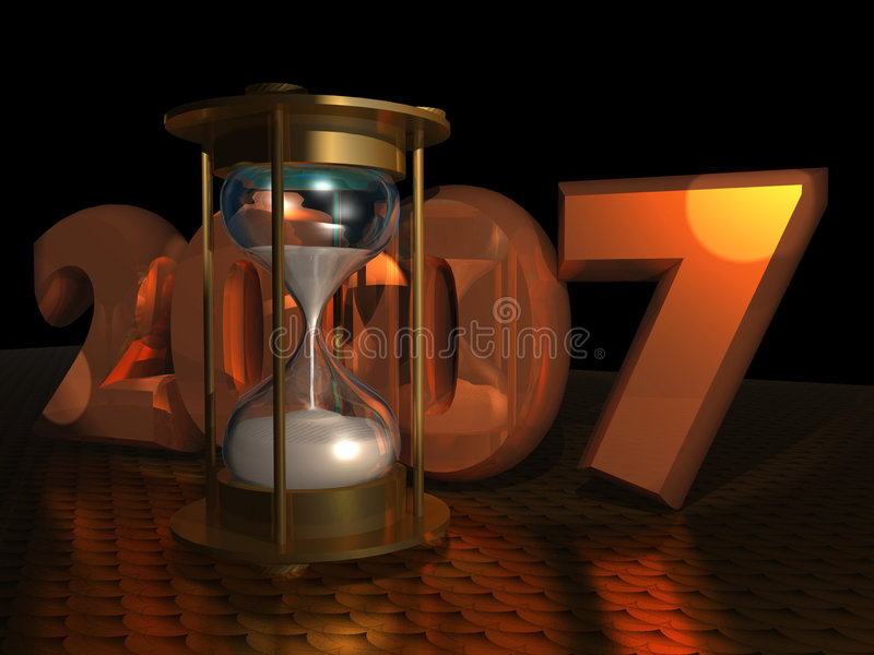 New Year with Hourglass vector illustration