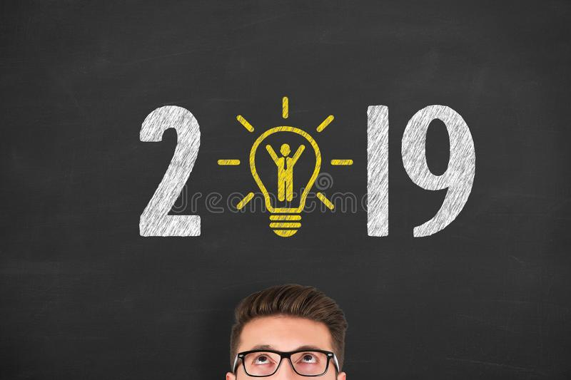New Year 2019 Human Resource Concepts on Blackboard Background. New year concepts royalty free stock photos