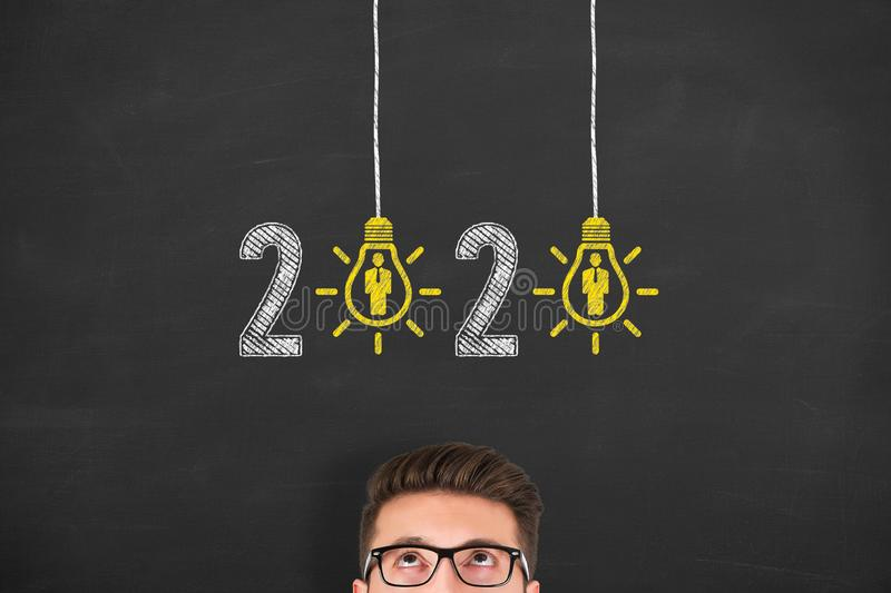 New Year 2020 Human Resource Concepts on Blackboard Background. New year concepts stock photography