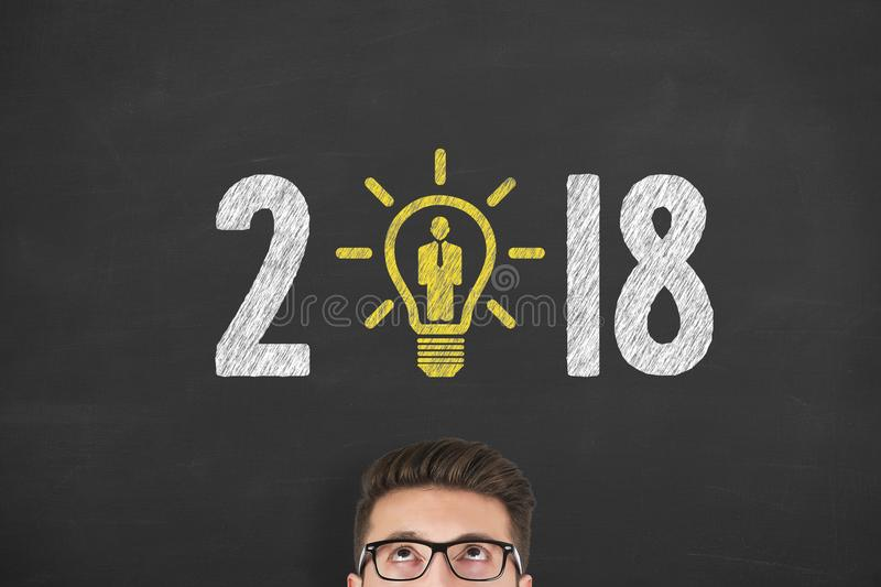New Year 2018 Human Resource Concepts over Human Head. New year working stock photography