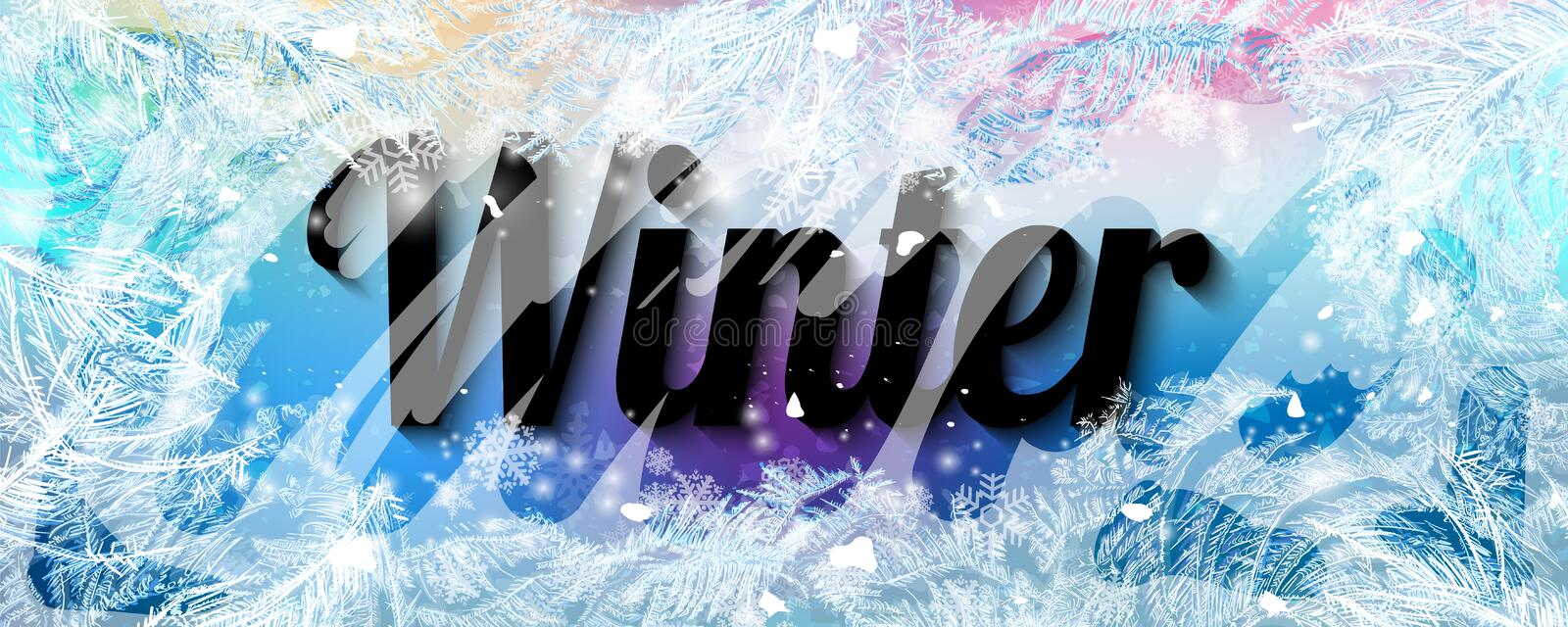 2020 New Year on ice frosted background. RGB. Global colors. One editable gradient is used for easy recolor. Vector illustration. New Year on ice frosted vector illustration