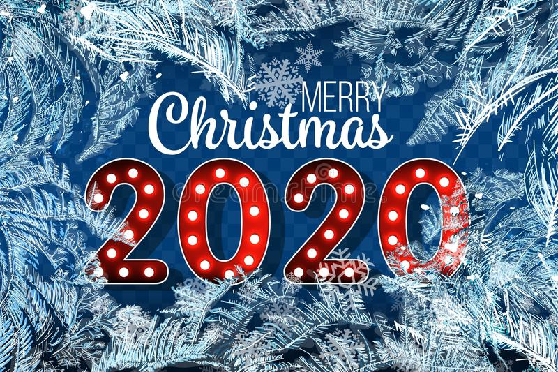2020 New Year on ice frosted background. RGB. Global colors. One editable gradient is used for easy recolor. Vector illustration. New Year on ice frosted royalty free illustration