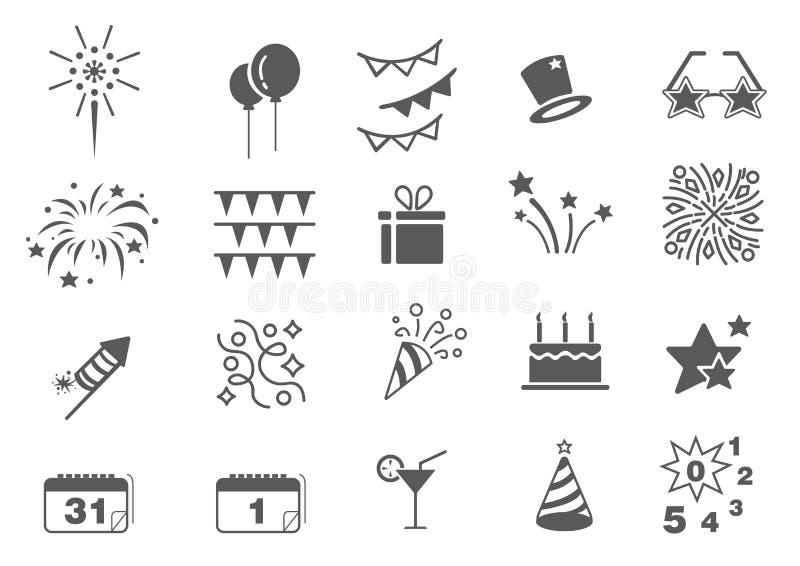 New Year icon set stock photos