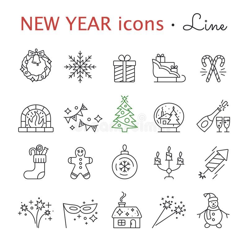 New Year icons. Christmas party elements. stock illustration