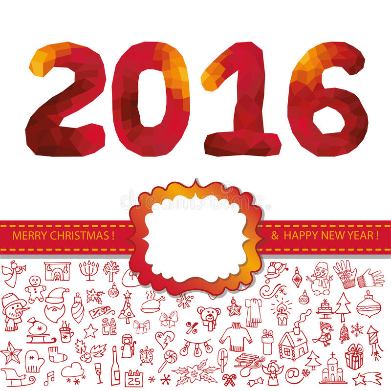 New year 2016.Icons,label,polygon numbers.Red stock illustration