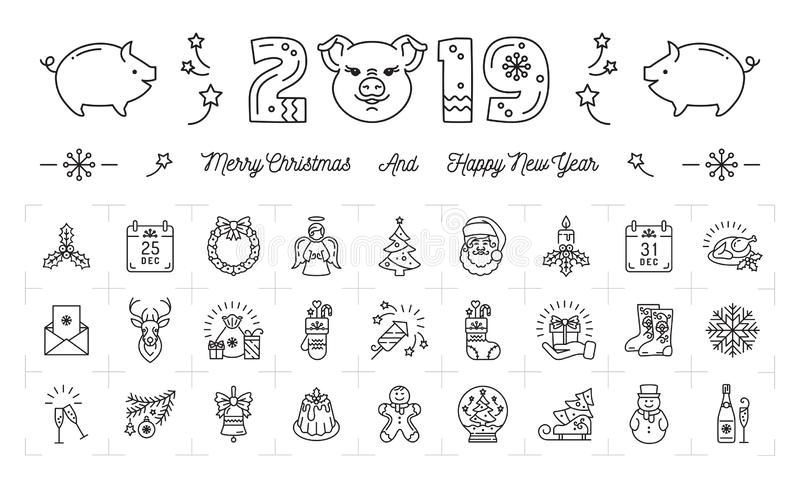 New Year icons, Pig icons and 2019 year number. Christmas flat symbols, Thin line art design, Vector illustration stock illustration