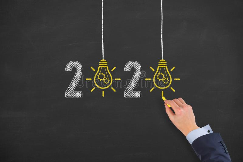 New Year 2020 Idea Concepts on Blackboard Background. New year concepts royalty free stock photo