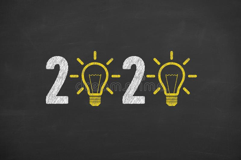 New Year 2020 Idea Concepts on Blackboard Background. New Year 2020 Innovative Idea Concepts on Blackboard Background new year concepts stock photos