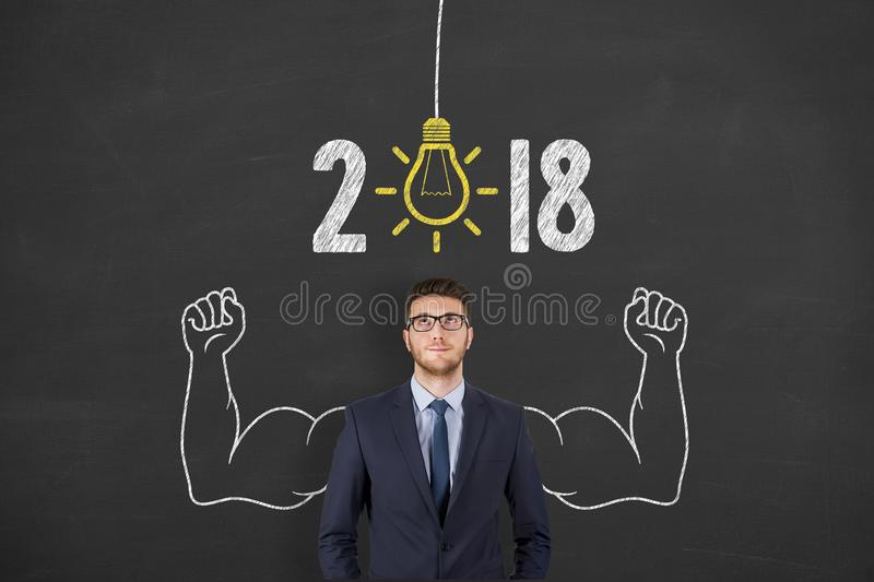 New Year 2018 Idea Concepts on Blackboard. New year working royalty free stock photos