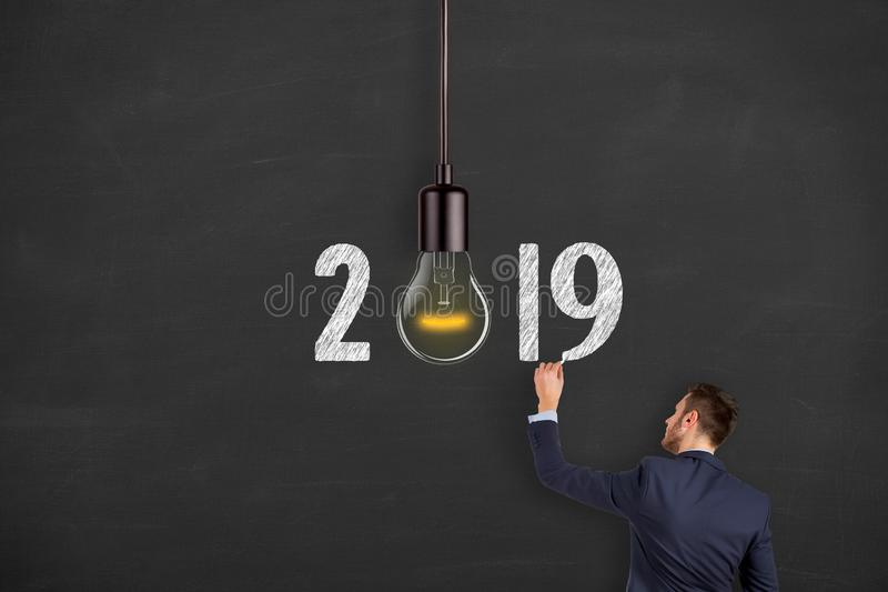 New Year 2019 Idea Concepts on Chalkboard Background. New year concepts royalty free stock photos