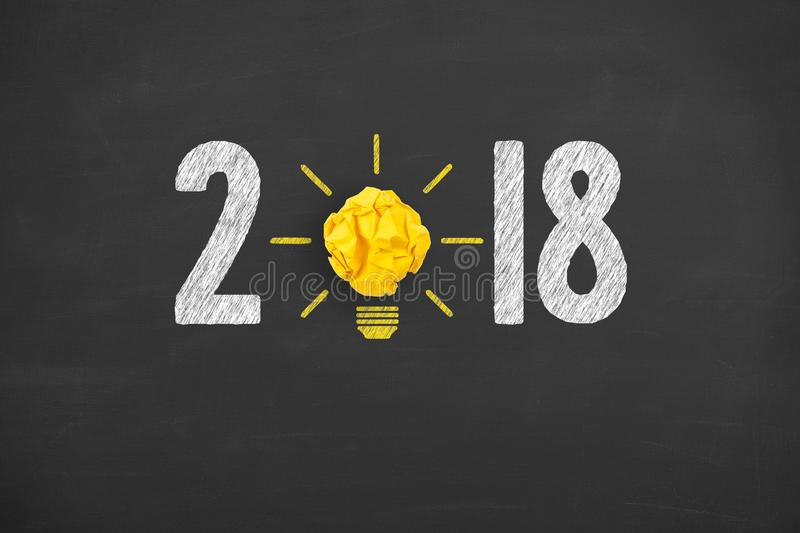 New Year 2018 Idea Concepts on Chalkboard Background. New year working stock photography
