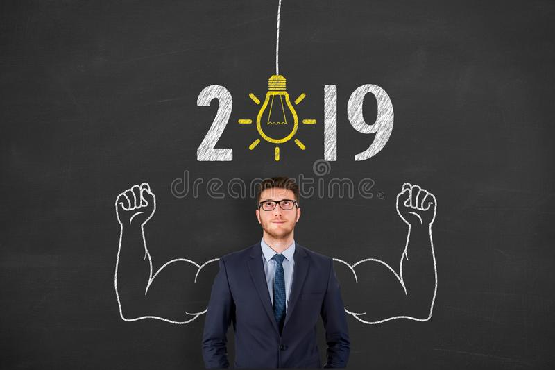 New Year 2019 Idea Concepts over Human Head. New year concepts royalty free stock image