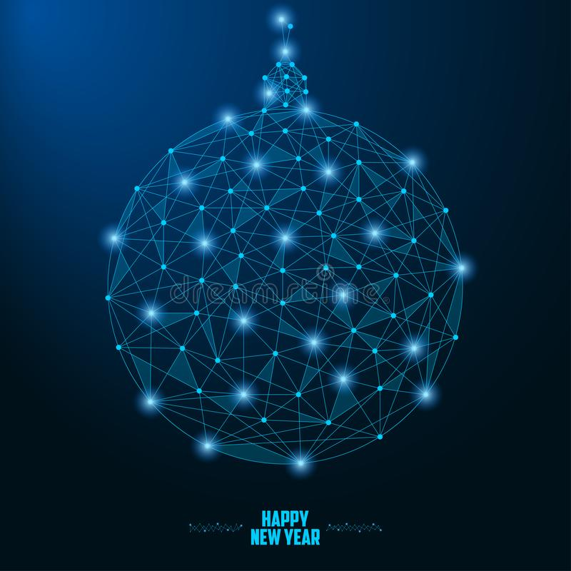 2019 New Year illustration with Christmas ball made by points and lines, polygonal wireframe mesh on night sky with star. Vector. 2019 New Year illustration vector illustration