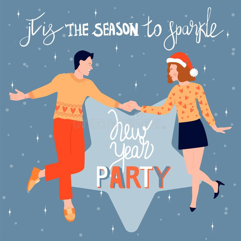 Christmas and Happy New Year greeting card with dancing couple. Happy couple dance at a Christmas party and celebrate the coming o royalty free illustration