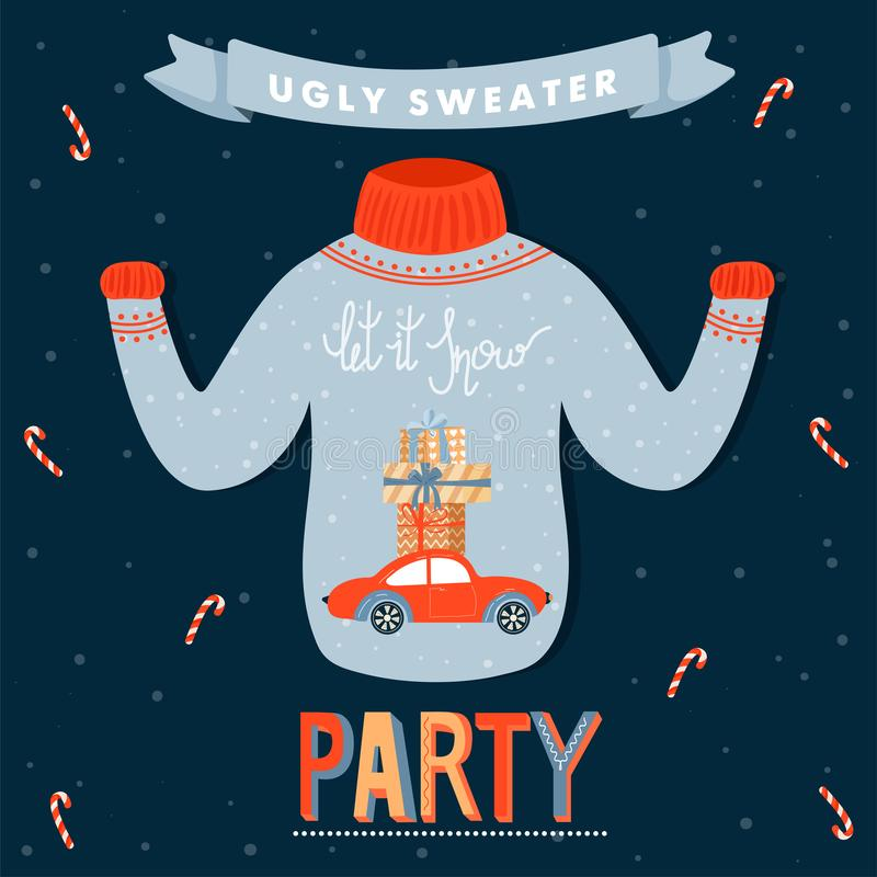 Ugly Sweater Christmas Party Invitation Card Vector