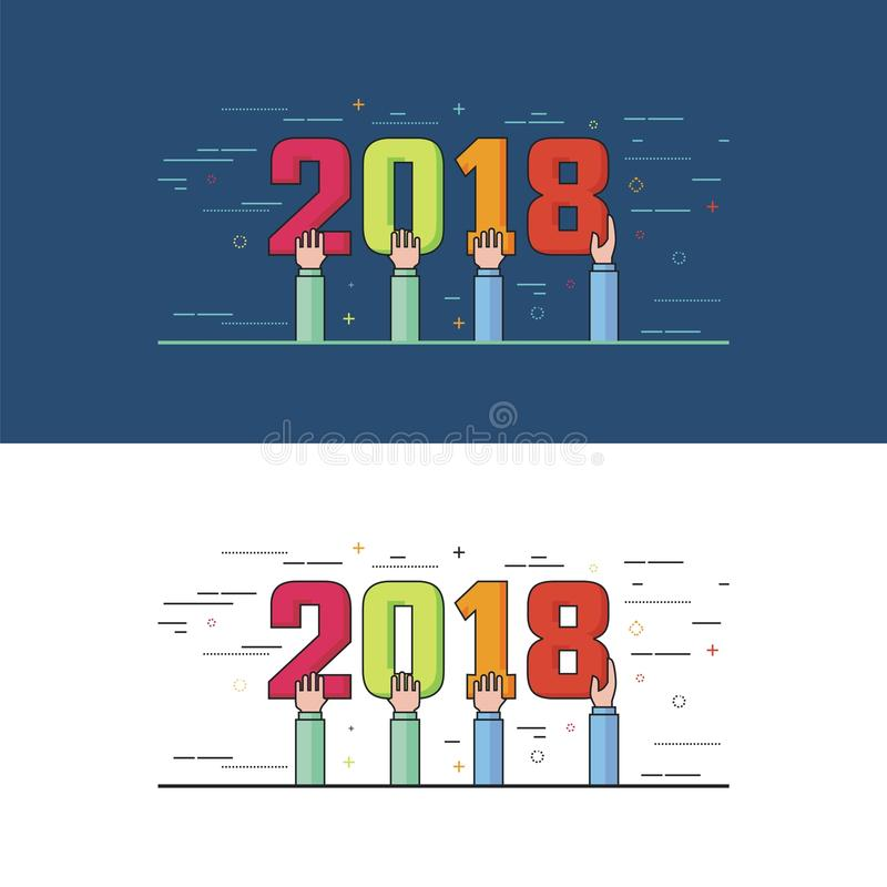 New Year 2018 illustration royalty free stock images