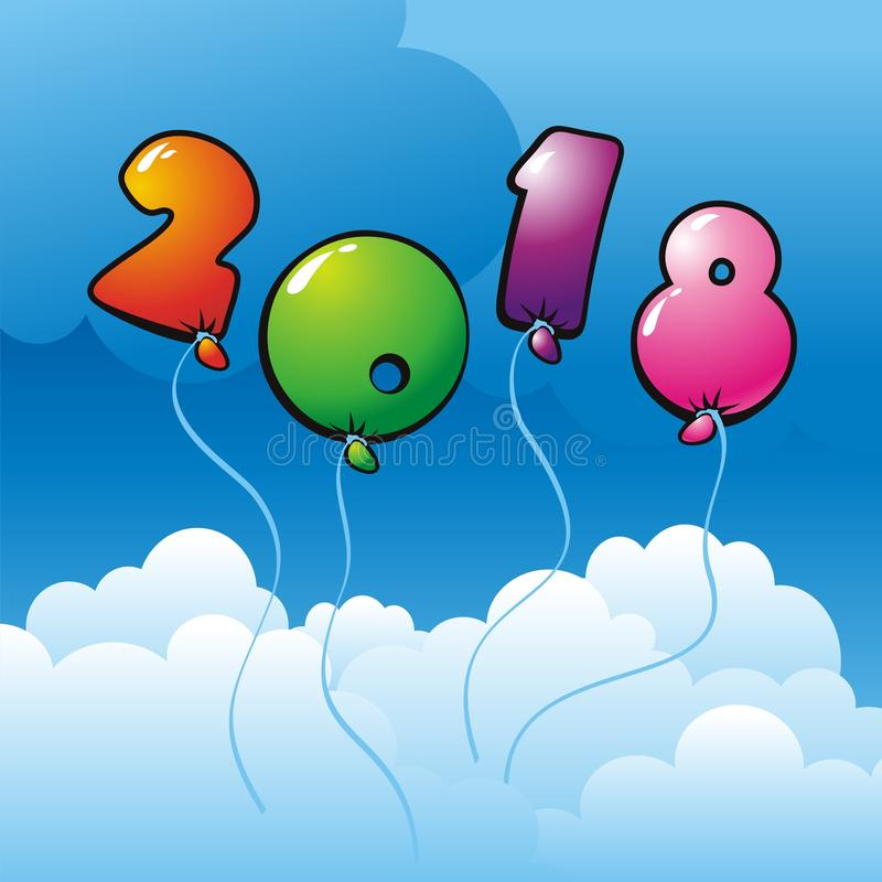 New Year 2018 illustration stock images